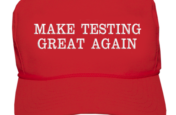 Trump-style red hat that says 'Mak