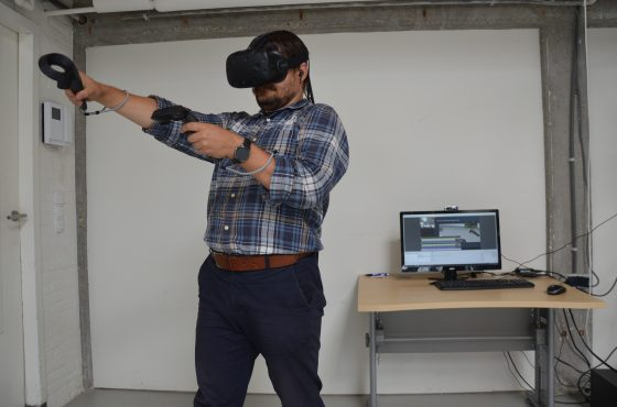 Sergiu, one of our VR testers, at work in our test lab