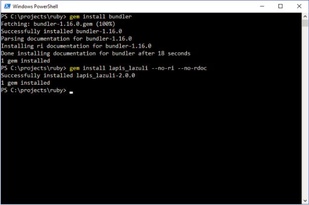 Installing Rubygems with PowerShell