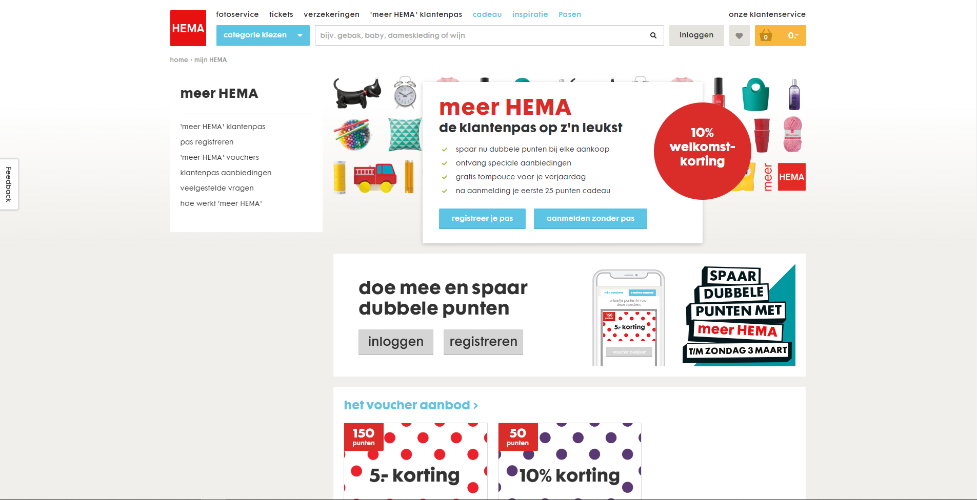 Screenshot of HEMA website