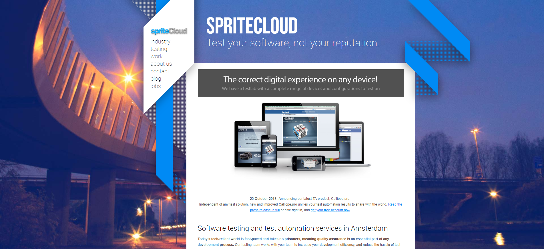 spriteCloud website in 2015