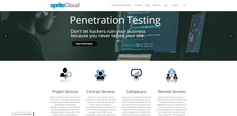 The spriteCloud website in 2019