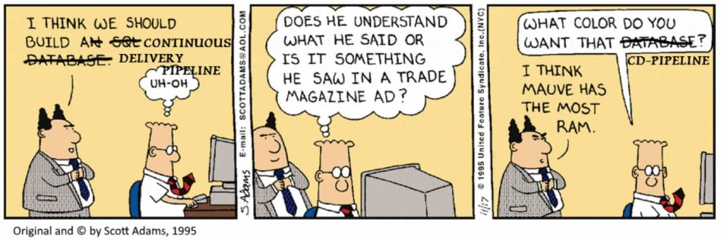 CD pipeline Dilbert comic