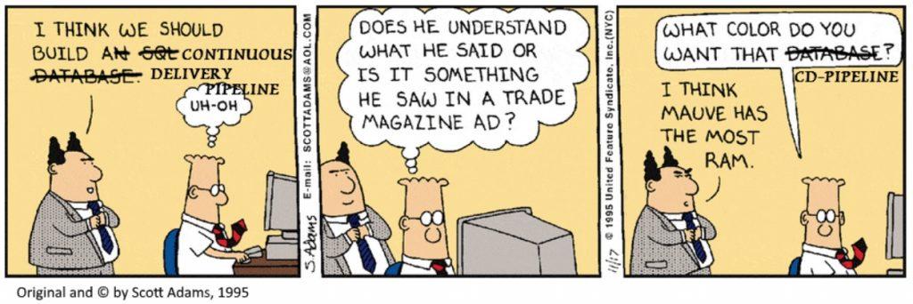 CD pipeline Dilbert comic